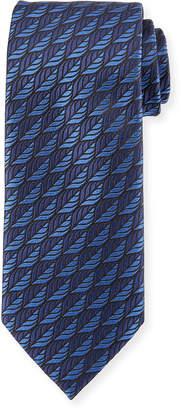 Ermenegildo Zegna Woven Leaves Silk Tie, Blue