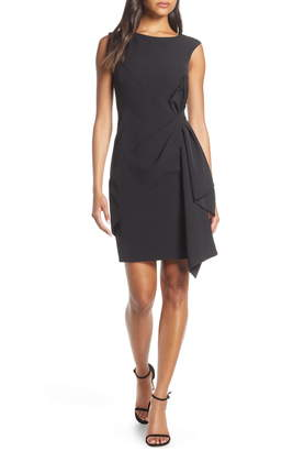 Eliza J Side Drape Laguna Crepe Cocktail Dress