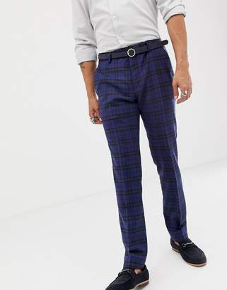 Twisted Tailor super skinny suit pant with blue tartan check in wool