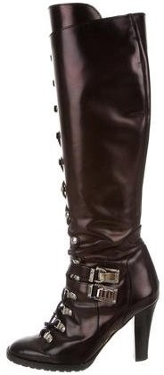 Michael Kors Patent Leather Lace-Up Boots