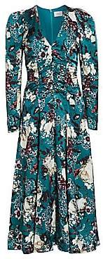 Erdem Women's Annalee Ruched Bodice Puff Shoulder Floral Midi Dress