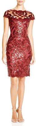 Tadashi Shoji Cap Sleeve Sequin Embroidered Dress $328 thestylecure.com