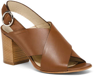 Made In Italy Leather Sling Back Heeled Sandals