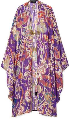 Dundas - Fil Coupé Silk-blend Chiffon Kaftan - Violet
