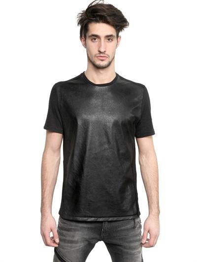 Neil Barrett Eco Leather & Cotton Jersey T-Shirt