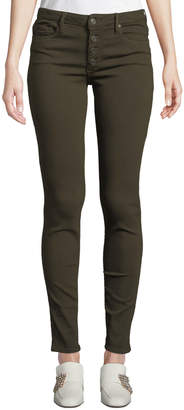 Black Orchid Candice Button-Front Skinny Jeans, Green