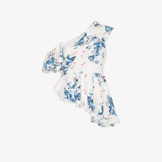 Off-White Off White x Browns floral print off-shoulder asymmetric ruffle top