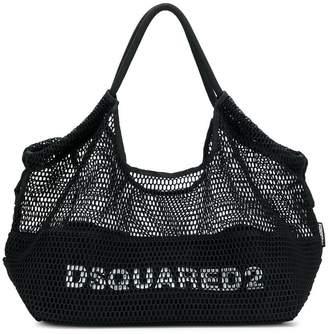 DSQUARED2 logo fishnet tote bag