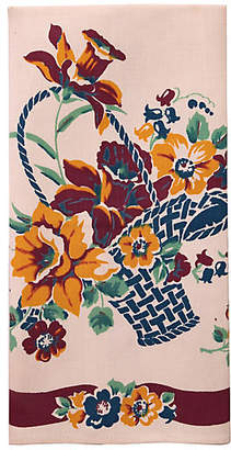 One Kings Lane Vintage Floral Basket Tea Towel - Genesee River