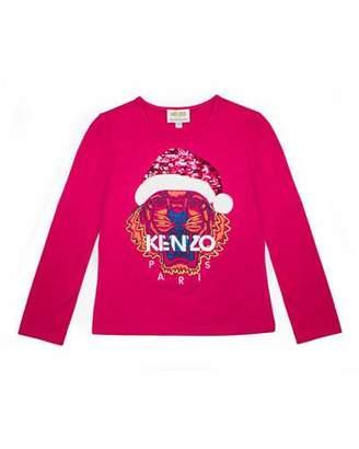 Kenzo Flip Sequin Santa Tiger Tee, Girls' Size 14-16