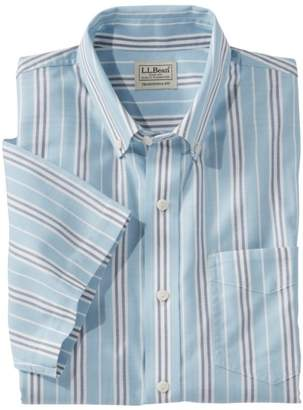 L.L. Bean L.L.Bean Men's Easy-Care Chambray Shirt, Traditional Fit Short-Sleeve Stripe