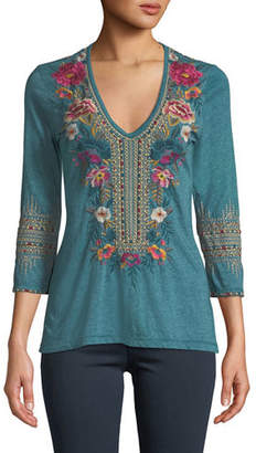 Johnny Was Katina 3/4-Sleeve Embroidered T-Shirt