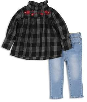 7 For All Mankind Girls' Plaid Top & Light-Wash Jeans Set - Baby