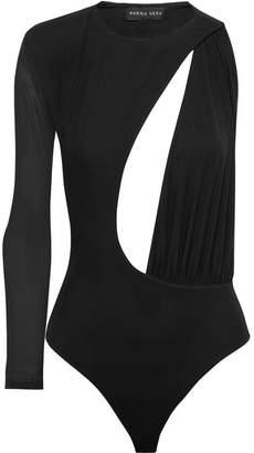 Marika Vera - Samantha One-shoulder Cutout Stretch-mesh Thong Bodysuit - Black