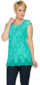 Isaac Mizrahi Live! Extended Shoulder Bi-ColorLace Tunic