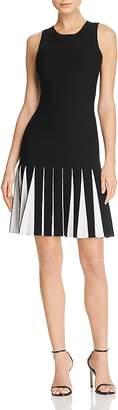 Milly Contrast Pleat Knit Dress