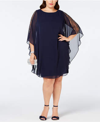 Xscape Evenings Plus Size Chiffon-Overlay Shift Dress