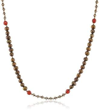 Swarovski Dyed Freshwater Cultured Pearl and Elements with Carnelian Accents Gold over Silver Necklace