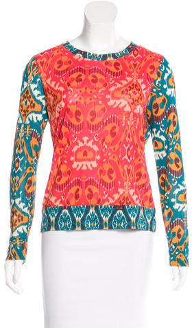 Tory BurchTory Burch Ikat Print Long Sleeve T-Shirt
