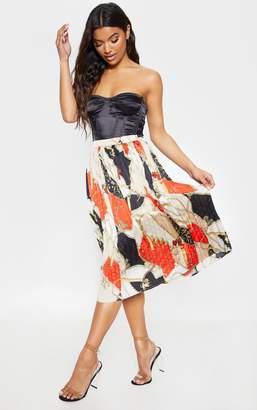 PrettyLittleThing Cream Chain Print Pleated Midi Skirt