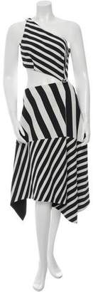 Thierry Mugler Striped Cutout Dress