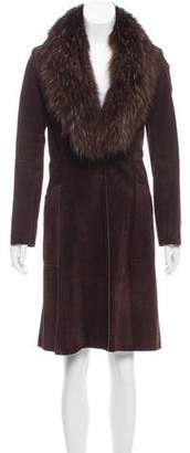 Theory Fur-Trimmed Suede Coat