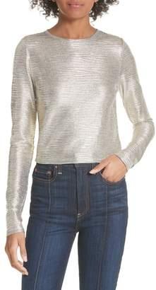Alice + Olivia Delaina Silver Long Sleeve Crop Top