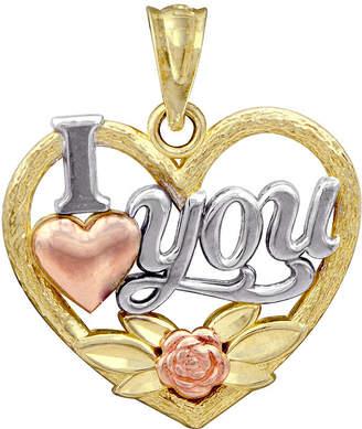 FINE JEWELRY 10K Tri-Tone Gold I Love You Pendant