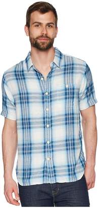 True Grit Surf Checks Double Light Gauze Stitch Detail and Vintage Washed Short Sleeve One-Pocket Shirt Men's Short Sleeve Button Up