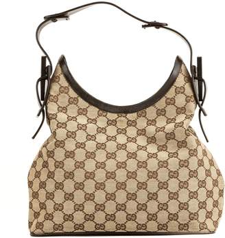 Gucci Brown Leather GG Monogram Canvas Hobo Bag (4025014)