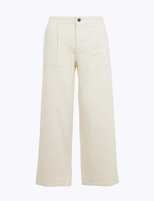 Marks and Spencer High Waist Wide Leg Cropped Jeans