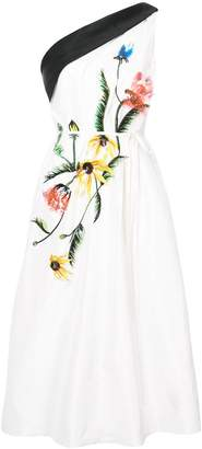 Carolina Herrera one-shoulder flower detail dress