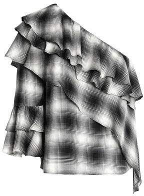 Alice + Olivia (アリス オリビア) - Alice + Olivia Hilaria One-Shoulder Ruffled Checked Flannel Top