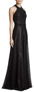 Carmen Marc Valvo Embroidered Sequin Halter Gown