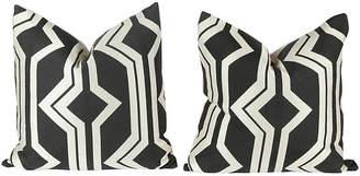 One Kings Lane Vintage Dark Charcoal & Ivory Geometric Pillows