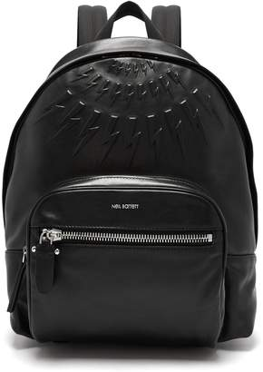 Neil Barrett Lightning-bolt embossed leather backpack