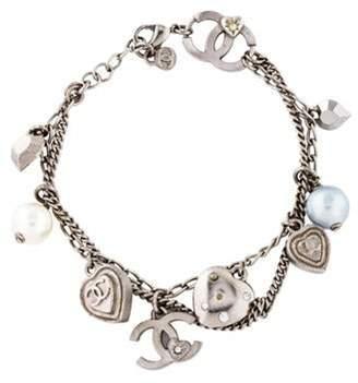 Chanel Strass & Faux Pearl Charm Bracelet Silver Strass & Faux Pearl Charm Bracelet
