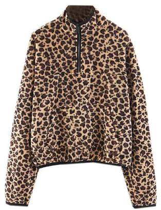 Goodnight Macaroon 'Bristol' Leopard Print Half-Zip Fleece Pullover