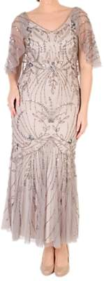 chesca Chesca Cape Trim Beaded Mesh Dress