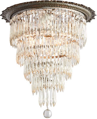 Rejuvenation Revival-Style Flush-Mount Tiered Crystal Chandelier
