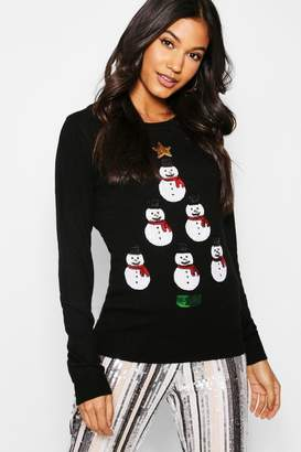 boohoo Snowman Tower Christmas Jumper