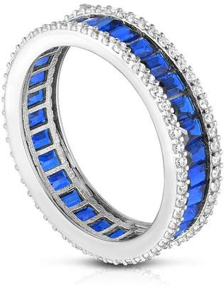 Chloé & Madison Sterling Silver Baguette Cut Blue CZ Band Ring