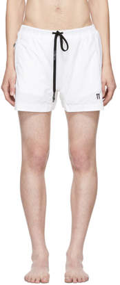 11 By Boris Bidjan Saberi White Embroidered Logo Swim Shorts