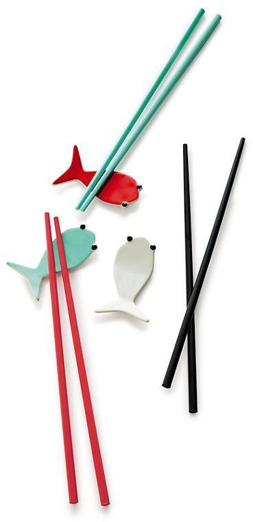 Crate & Barrel Fish Aqua Chopsticks