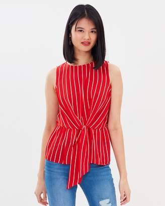 Miss Selfridge Striped Shell Tie Top