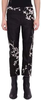 Haider Ackermann Leonitis Black Silk Blend Floral Pants