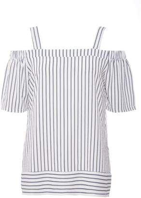 Quiz White And Navy Stripe Cold Shoulder Top