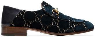 Gucci blue marine Mister velvet loafers
