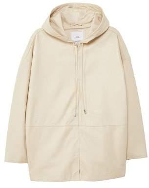 MANGO Hooded leather jacket