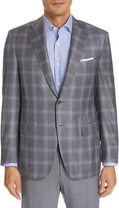 Canali Sienna Classic Fit Plaid Wool Sport Coat